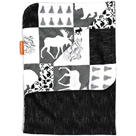 Dear Baby Gear Deluxe Baby Blankets 38 Inches by 29 Inches Custom Minky Print Double Layer Grey Wild and Free and Moose with Canoe