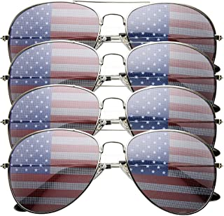 4 PACK Mens Bulk USA American Flag Aviator Sunglasses