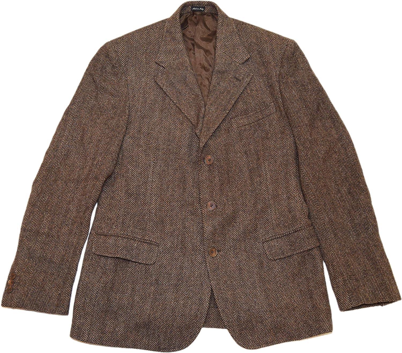 Ralph Lauren Polo RRL Mens Brown Herringbone Wool Blazer Sportcoat Italy 42L