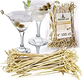 Bamboo Appetizer Cocktail Picks   Environmentally Friendly Disposable Skewers Picks for Food and Drinks   Two Sizes Available (4