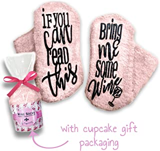 Passionette Fuzzy Wine Socks: If You Can Read This Bring Me Some Wine Novelty Socks - Funny Gift Idea for Her - Anniversary, 21st Birthday with Cupcake Gift Packaging (Baby Blush)