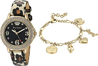 Women's Swarovski Crystal Accented Gold-Tone and Leopard Strap Watch and Charm Bracelet Set, JC/1006LEST