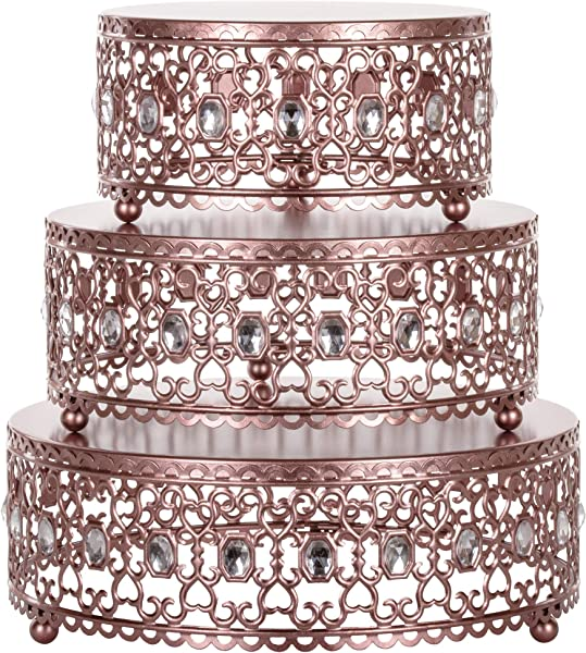 Amalfi Decor Cake Stand Plateau Riser Set Of 3 Pack Dessert Cupcake Pastry Candy Display Plate For Wedding Event Birthday Party Round Metal Pedestal Holder With Crystal Gems Rose Gold