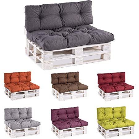 Coussin matelassé pour palette / coussin de siège / de dossier en polypropylène Set (Sitzkissen 120x80 +Rückenlehne 120x40) gris