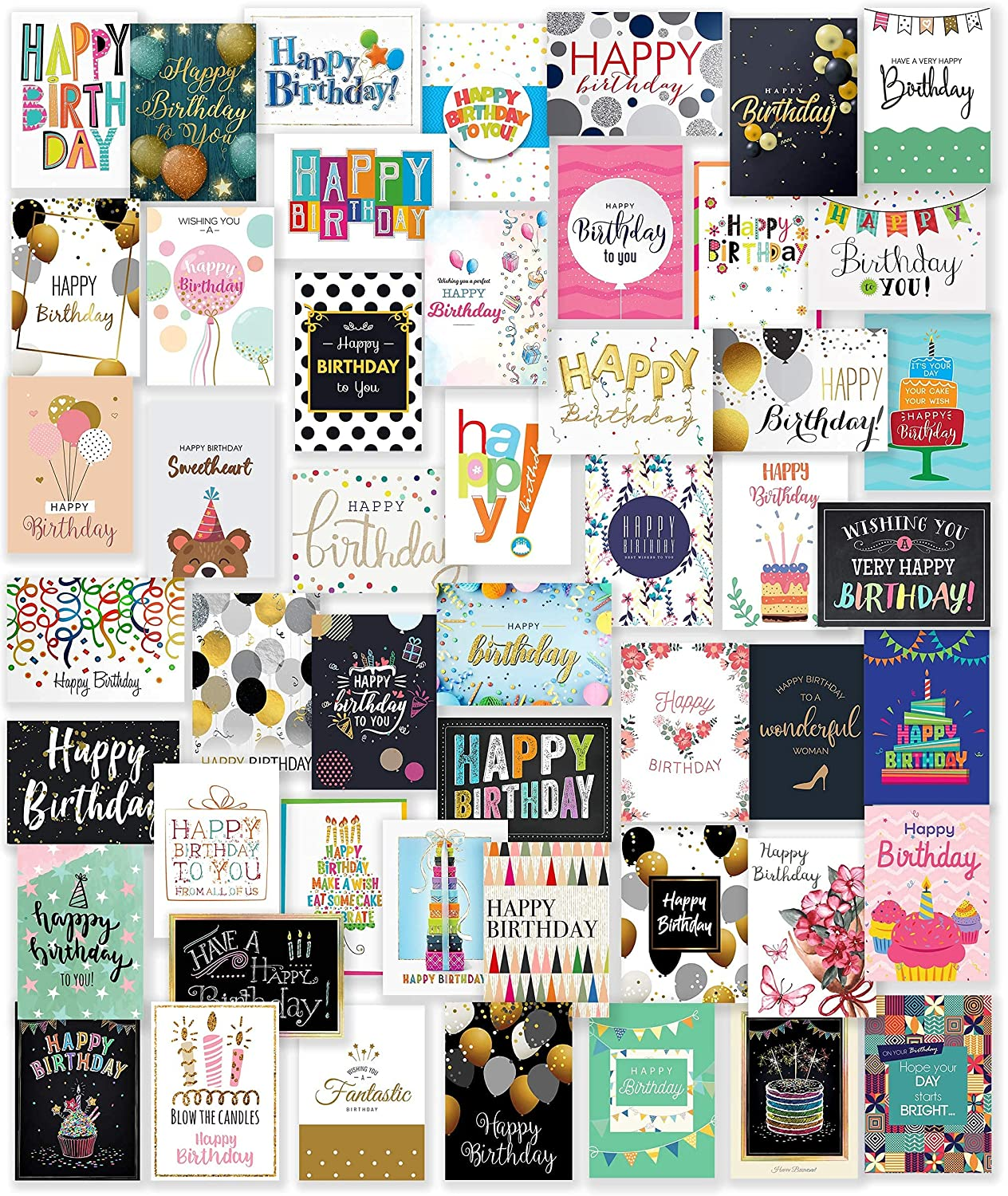 50 Unique Happy Birthday Cards Direct sale of manufacturer Assortment 5x7 Inch with 25 Bombing new work Large