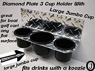 Polaris ranger crew Jumbo 3 Cup Drink Holder Diamond Plate Fits Boats-golf Carts-truck
