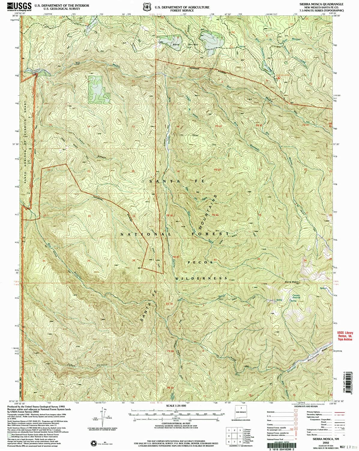 Sierra Mosca NM topo map, 1 24000 Scale, 7.5 X 7.5 Minute, Historical, 2002, Updated 2003, 26.9 x 22.1 in
