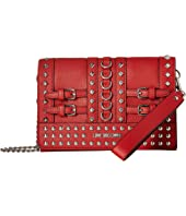 LOVE Moschino - Wristlet with Belt Studs and Attachable Chain Strap