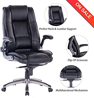7d654eec4 VANBOW High Back Leather Office Chair - Adjustable Tilt Angle and Flip-up  Arms Executive