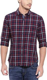 BASICS Slim Fit Cranberry Red Checks Shirt
