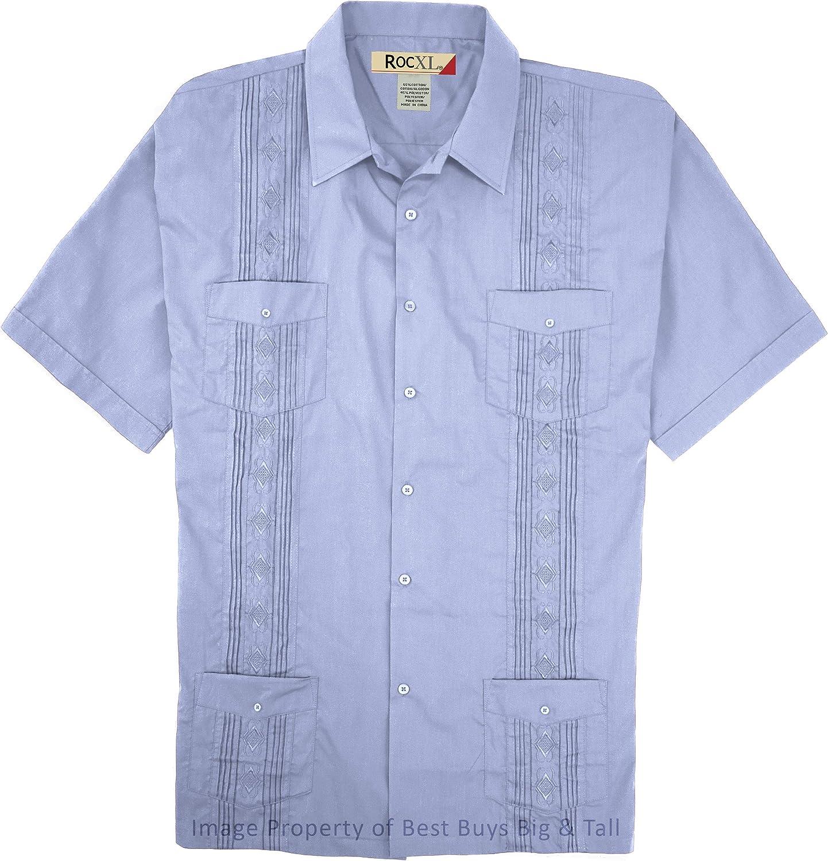 ROCXL Big & Tall Men's Short-Sleeve Guayabera Shirt 2XB – 6XLT