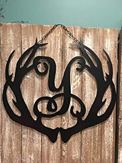Deer Antler Monogram Initial Decor ACM Metal Deer Wall Art Man Cave Gift Sign QUICK SHIPPING 24in