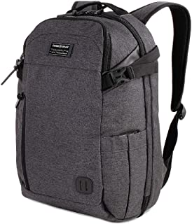 SWISSGEAR Getaway Weekend Padded Premium Hybrid Laptop Backpack | Travel, Work, School | Men's and Women's - Heather Gray