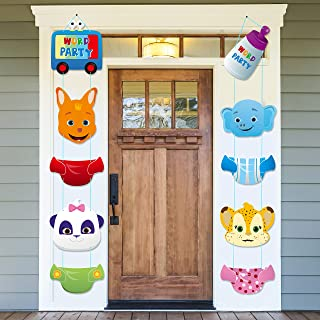 Haooryx Word Party Action Sign Cutouts Kids Theme Party Banner Decorations Supplies Door Porch Sign for Word Party Birthda...