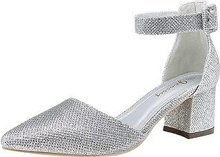 Women's Ankle Strap Pumps Block Heel Comforatable Low Heel Formal Dress Shoes for Women