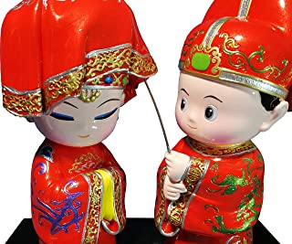 Ceramic Figurines as Unique Wedding Statue Gifts for Couples Shy Bride and Groom, Characteristic Cute Tabletop Drama Figurine Ornament for Home Decor 6.3/6/3.15