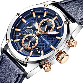 Men Business Watches, MF MINI FOCUS Quartz Wrist Watch (Fashion, Blue, Casual), Design Leather Band Strap Wristwatchs for Men Gift