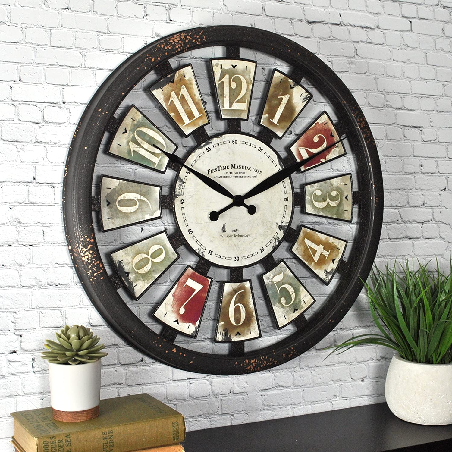 FirsTime 50079 ClockFirsTime Palette Plaques Wall Clock, Multicolor