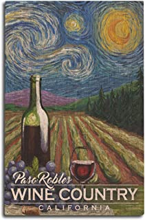 Lantern Press Paso Robles Wine Country, California - Vineyard - Starry Night 102942 (10x15 Wood Wall Sign, Wall Decor Ready to Hang)