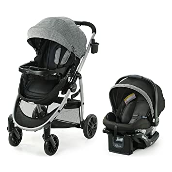 Graco Modes Pramette Travel System   Includes Baby Stroller with True Bassinet Mode, Reversible Seat, One Hand Fold, Extra Storage, Child Tray and SnugRide 35 Infant Car Seat, Ellington: image