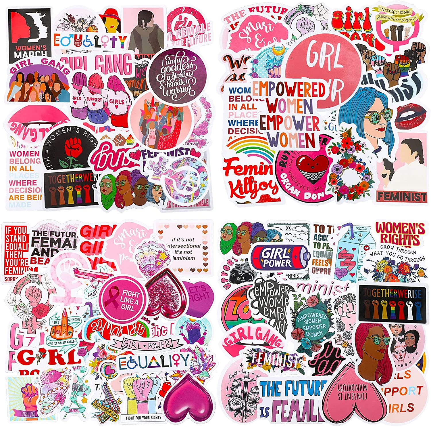 150 Pieces Feminist Stickers Women Empowerment Stickers Breast Cancer Awareness Stickers Feminism Stickers Waterproof Girls Graffiti Vinyl Stickers for Water Bottles, Phone, Computer, Luggage, Guitar