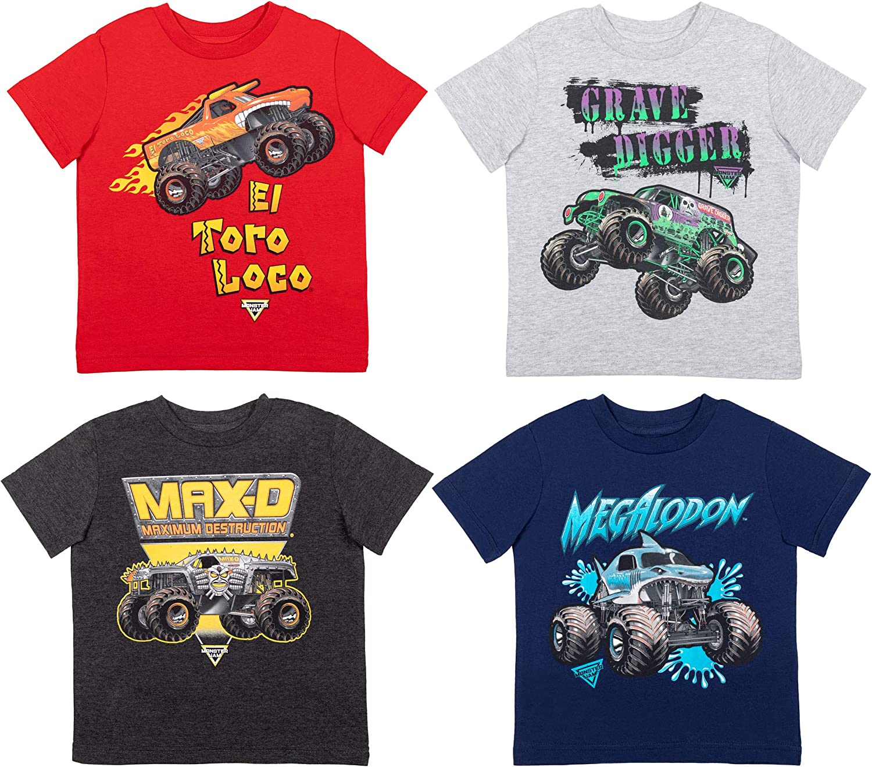 Monster Jam Trucks 4 Pack Short Sleeve T-Shirt