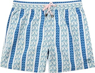 Pink House Mustique Navy Palm Stripe Swimwear Mens Lightweight Swim Trunks