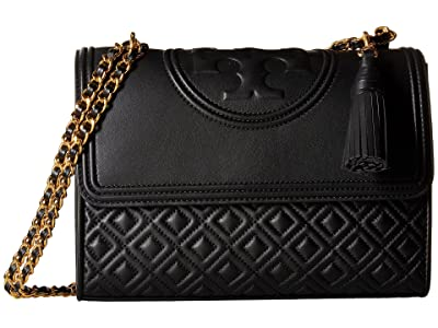 Tory Burch Fleming Convertible Shoulder Bag (Black) Shoulder Handbags