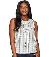 Sleeveless Lace-Up Jacquard Stripe Blouse
