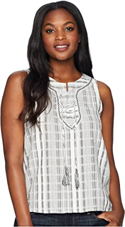 Sleeveless Lace-Up Jacquard Stripe Blouse