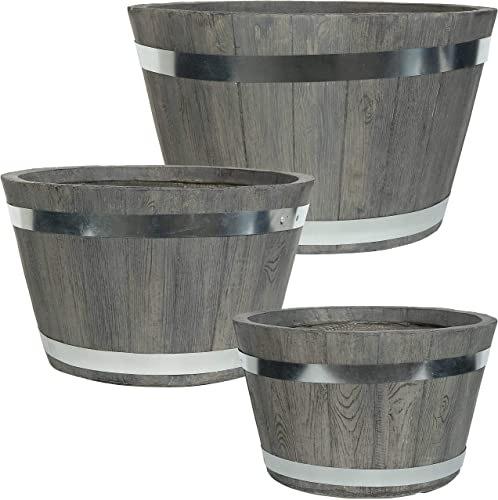 new arrival Sunnydaze 2021 Chateau Fiber Clay new arrival Round Barrel Planter Flower Pot, Indoor/Outdoor 14-Inch, 17-Inch and 20-Inch 3-Piece Set, Gray online sale
