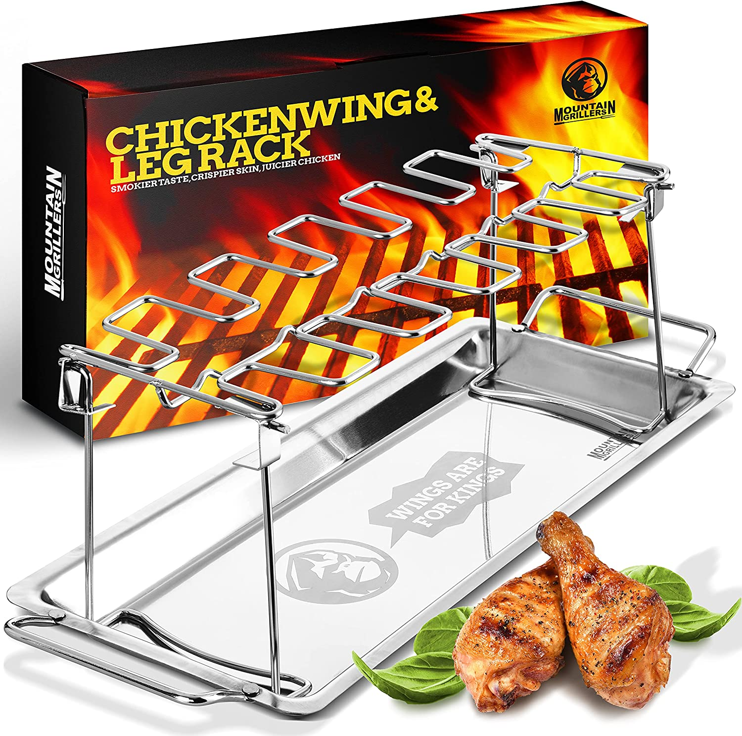 Chicken Drumstick Grill Rack - Large Capacity Smoker BBQ Chicken Wing Rack Can Hold Up 12 Legs, Wings, Thighs, Drumsticks - Made From Sturdy Stainless Steel With A Locking Mechanism & Deep Drip Tray