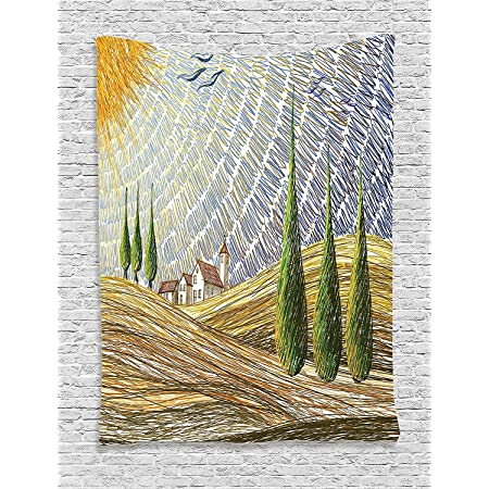 Ambesonne Italian Tapestry Van Gogh Style Italy Valley Rural Fields European Scenery Painting Print Wall Hanging For Bedroom Living Room Dorm Decor 60 X 80 Multicolor Home Kitchen