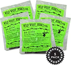 Wild West Jerky #1 Best Premium 100% Natural Grass Fed Hand Stripped 2 OZ. Thick Cut Delicious Tasty Bold Flavor Elk Jerky from Utah USA - Wood Smoked with Hickory Wood