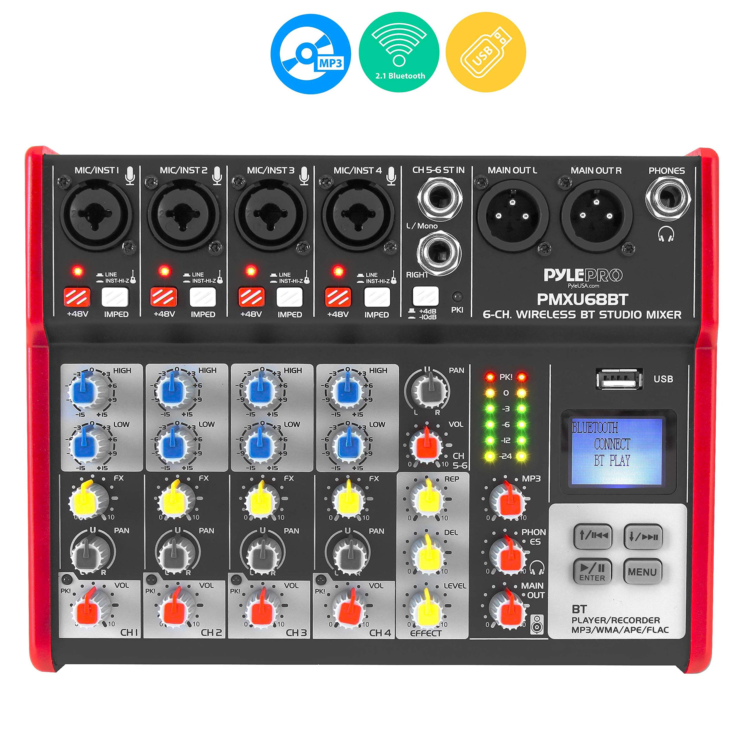 Compatible Professional Interface Mixing Recording PylePro PMXU68BT