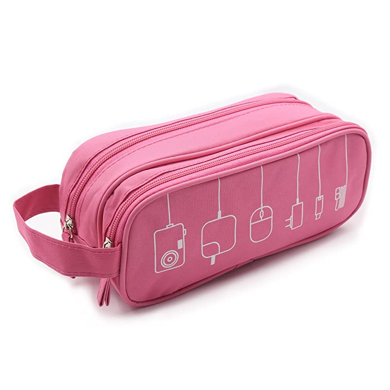 HONSKY Medium Water Repellent Travel Electronics Accessories Gadget Cable Cord Organizer, Hanging Cosmetic Makeup Toiletry Zipper Space Storage Bags Cases Pouch for Kid Women Men, Pink stcabgyb321361