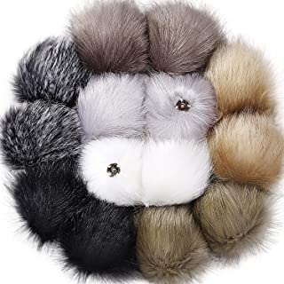 Tatuo DIY Faux Fur Pom Poms Ball with Press Button Removable Fluffy Pompom for Knitting Hats Shoes Scarves Bag Accessories (Neutral Color, 14)
