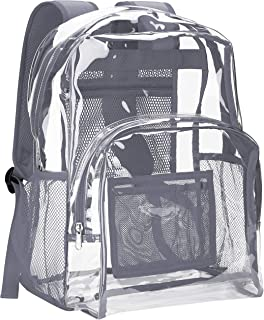 Vorspack Clear Backpack Heavy Duty PVC Transparent School Backpack with Reinforced Strap Stitches & Large Capacity for College Workplace Security - Grey