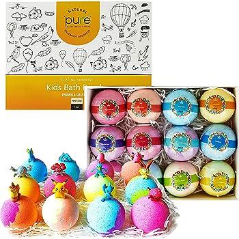 Kids Bath Bombs Gift Set - 12 4.2 oz Surprise Bath Bombs for Kids with Toys Inside! Make Bathtime Fun with Moisturizing Bath Bombs with Surprise Inside!