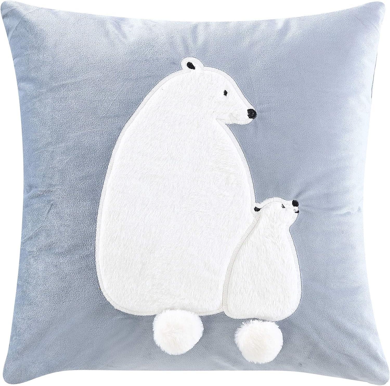 Chezmoi Collection Velvet 3D Polar Cover latest Removable w Bear Colorado Springs Mall Pillow