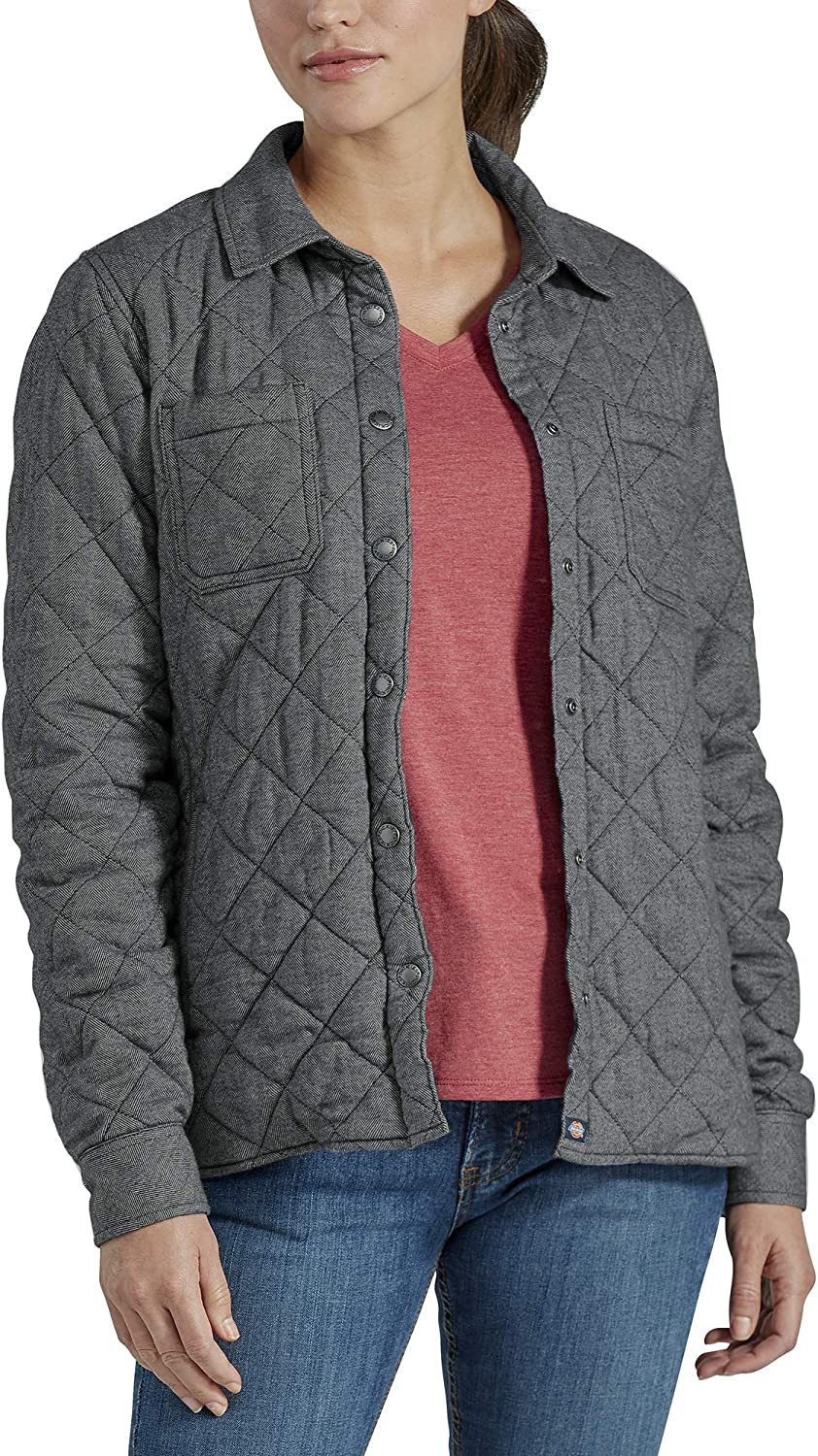 Dickies Women's Quilted Flannel Shirt Jacket: Clothing