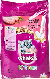 Whiskas Ocean Fish & Milk, Dry Food Junior, 2-12 months, 1.1kg
