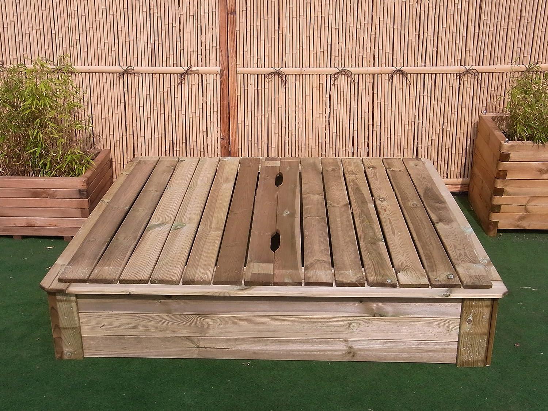 BIHL Sandkasten Deckel 8 x 8 cm Holz Sandbox Sandkiste Buddelkasten  Spielkasten