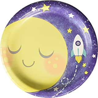 Creative Converting 321806 To The Moon & Back Gender Neutral Baby Shower Dessert Plates, 7