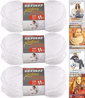 Bernat Softee Chunky Yarn Bundle Super Bulky Number 6, 3 Skeins, White 28005
