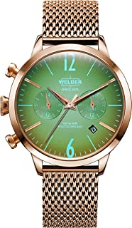 Welder Moody Stainless Steel Mesh Dual Time Rose Gold-Tone Watch with Date 38mm