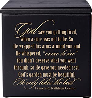 Cremation Urns for Human Ashes -Small Funeral Urn Keepsake Box for Pets - Memorial Gift for Home or Columbarium Niche God Saw You Getting Tired, When a Cure was-Holds Small Portion of Ashes (Black)