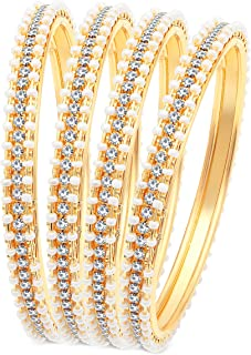 Sukkhi Fascinating Pearl Gold Plated Wedding Jewellery Austrian Diamond Bangles Set of 4 for Women (B71518ADRL550_2.4)
