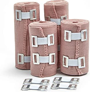 Premium Elastic Bandage Wrap Compression Rolls Set Of 4 Pack Inc 4 Extra Clips, FDA Approved Polyester Cotton. Two Rolls Of Each Size, 4 Inch x 5 Feet & 3 Inch x 5 Feet With Hook And Loop Closure