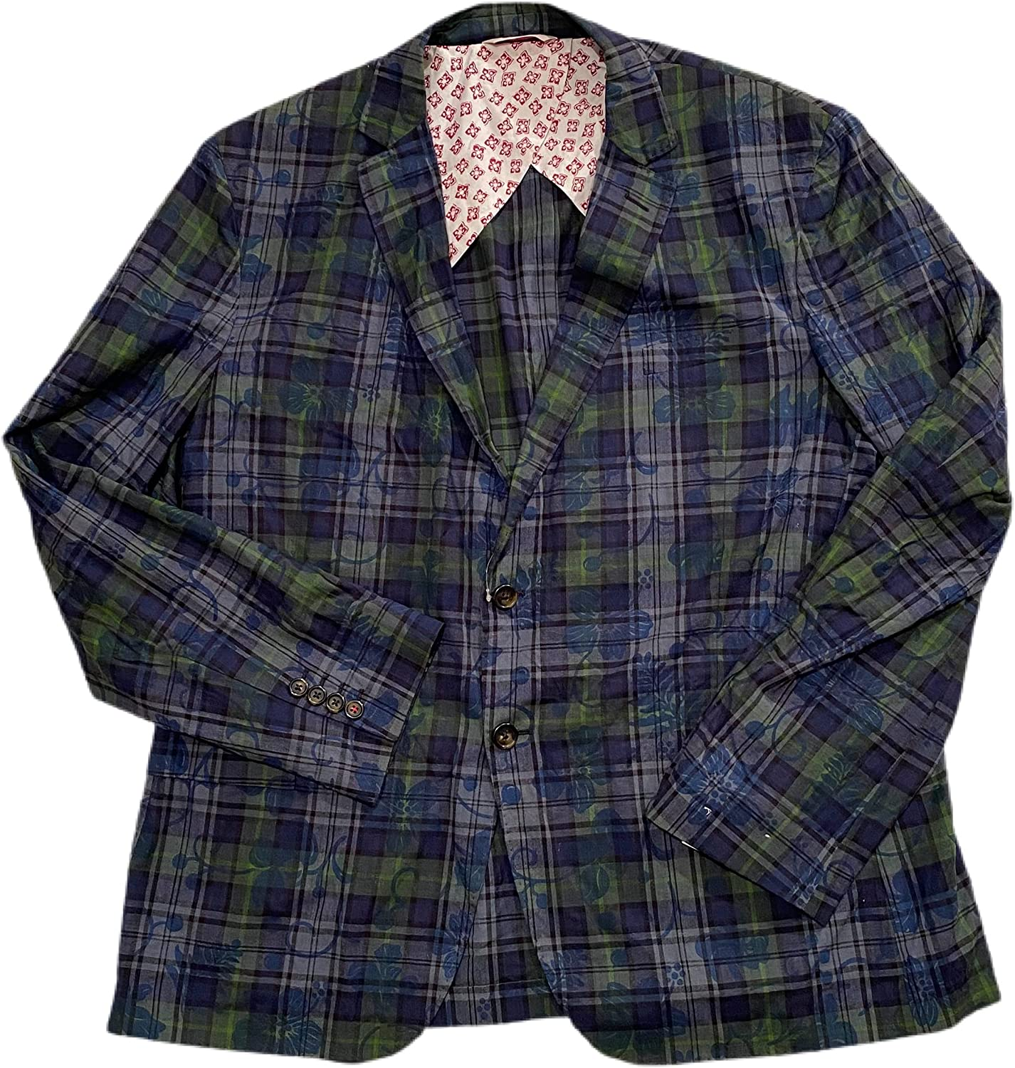 BROOK BROTHERS RED Fleece Men's Navy-Green Plaid Floral Printed Cotton Slim Partially Lined Blazer 2 Buttons,2 Back Vents Size 48R